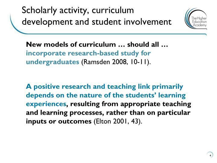 Scholarly activity, curriculum development and student involvement
