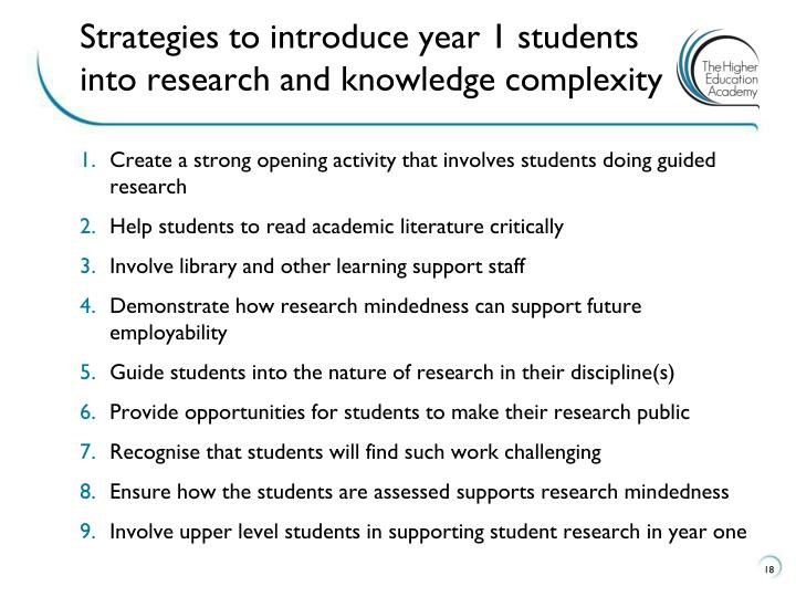 Strategies for course teams to introduce year one students into research and