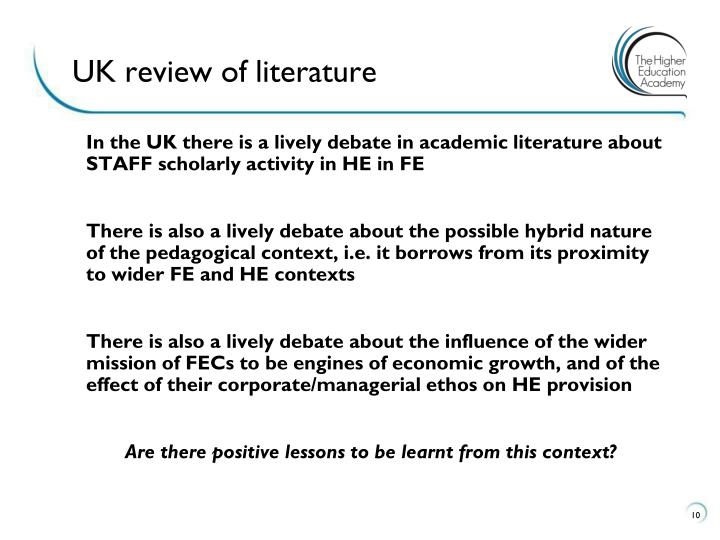 UK review of literature
