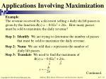 applications involving maximization