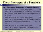the x intercepts of a parabola