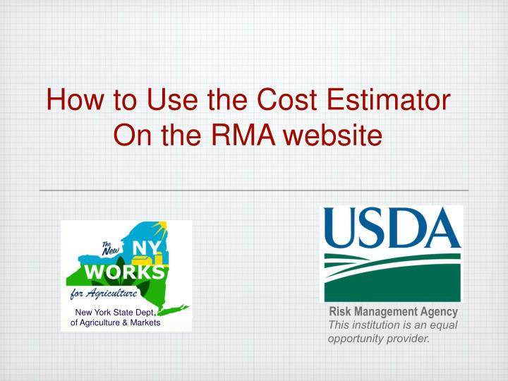 ppt how to use the cost estimator on the rma website powerpoint