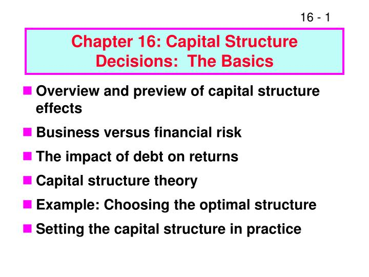 chapter 16 capital structure decisions the basics n.