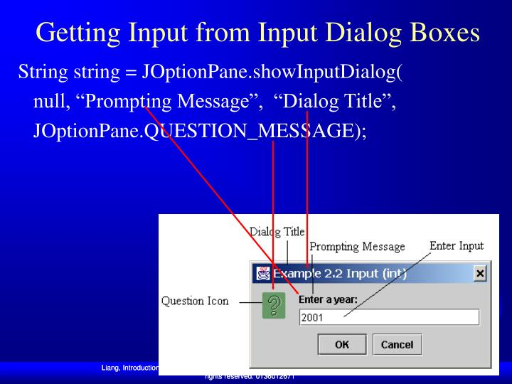 Getting Input from Input Dialog Boxes