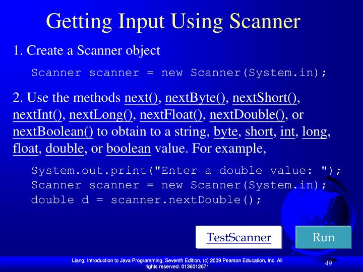 Getting Input Using Scanner