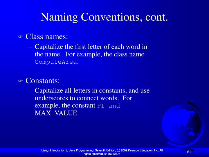 Naming Conventions, cont.