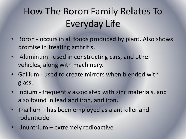 How The Boron Family Relates To Everyday Life