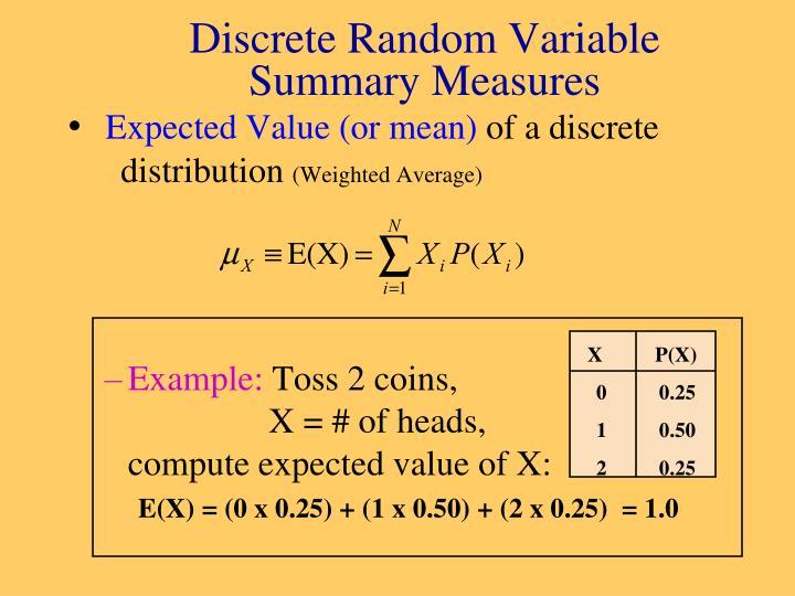 Discrete random variable summary measures