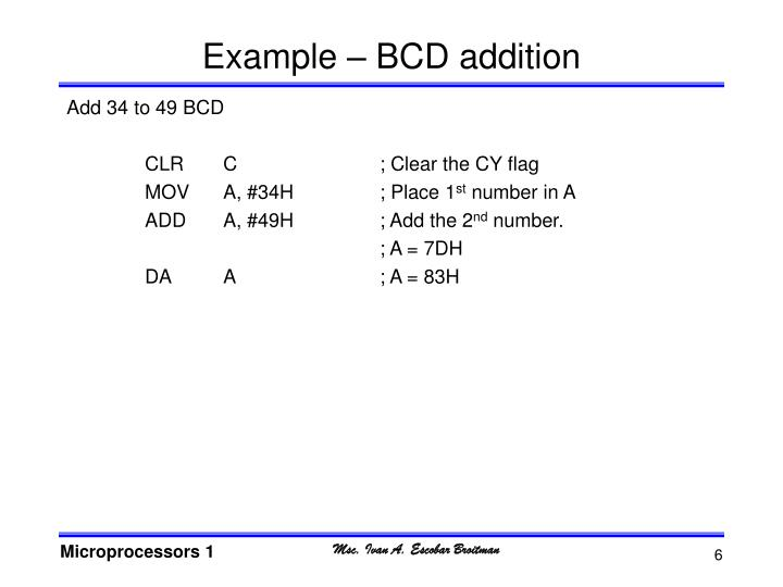 Example – BCD addition