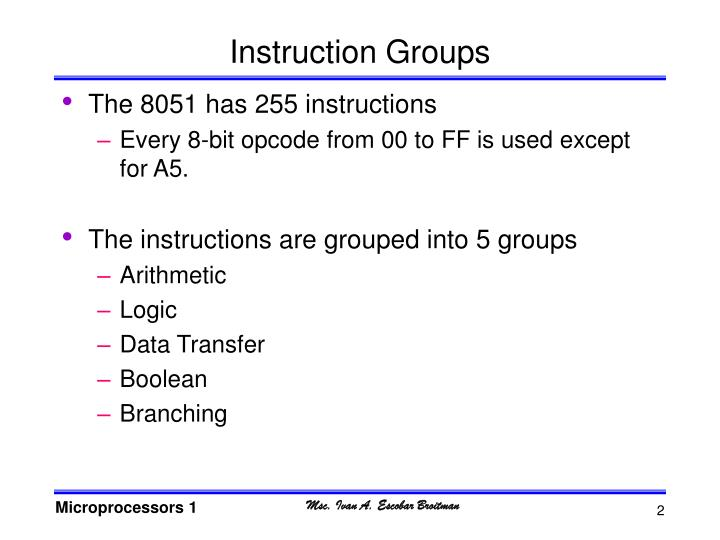 Instruction groups