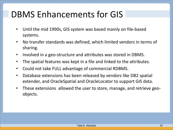 DBMS Enhancements for GIS
