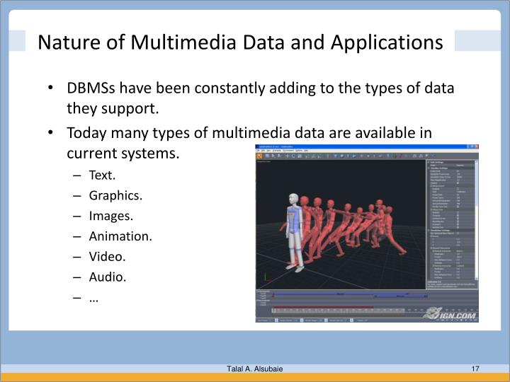 Nature of Multimedia Data and Applications