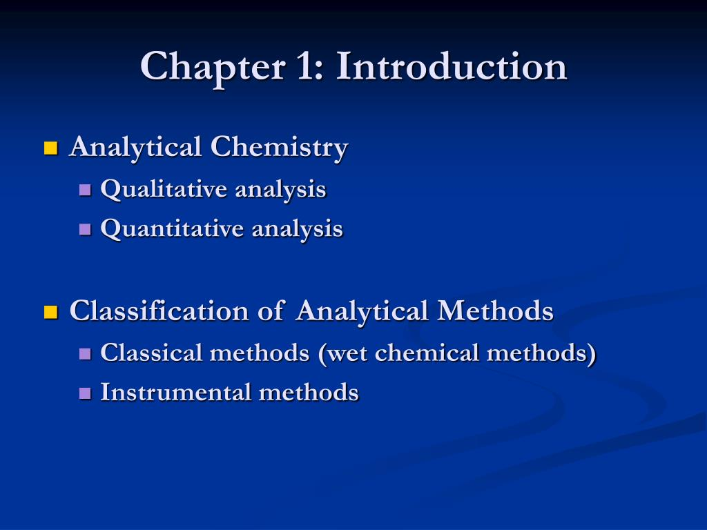 analytical introduction
