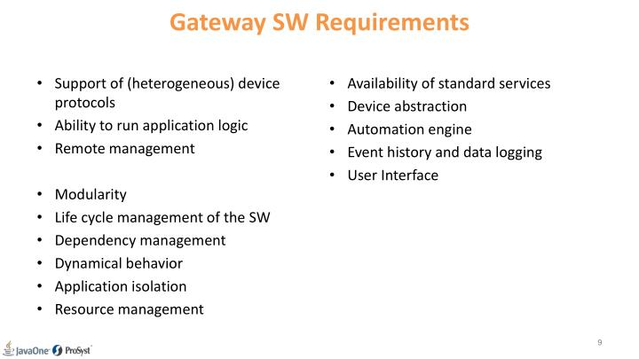 Gateway SW Requirements