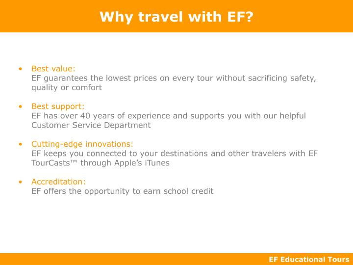 Why travel with ef