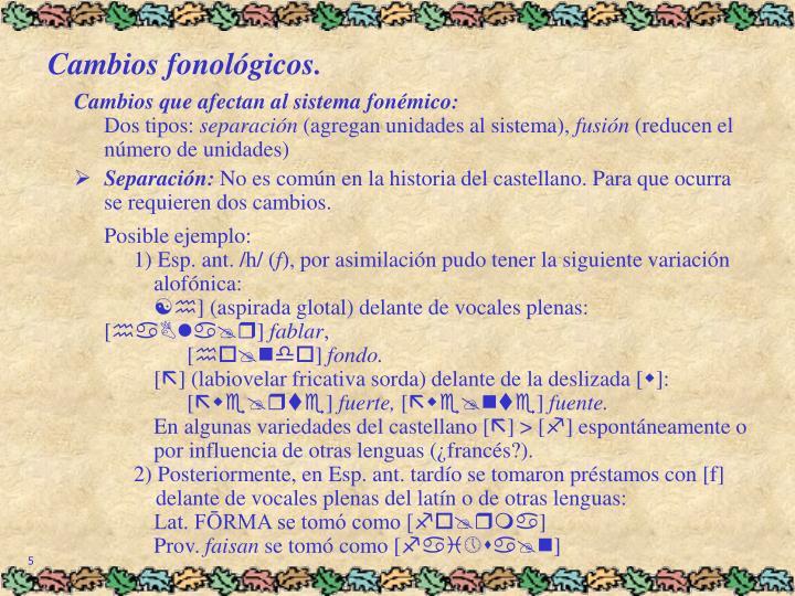 Cambios fonológicos.