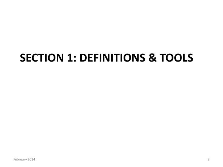 Section 1 definitions tools
