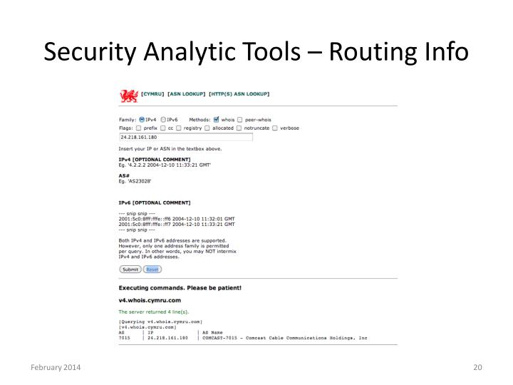 Security Analytic Tools