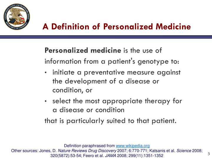 A definition of personalized medicine