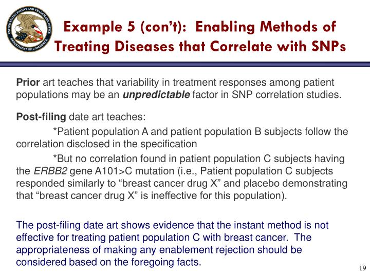 Example 5 (con't):  Enabling Methods of Treating Diseases that Correlate with SNPs