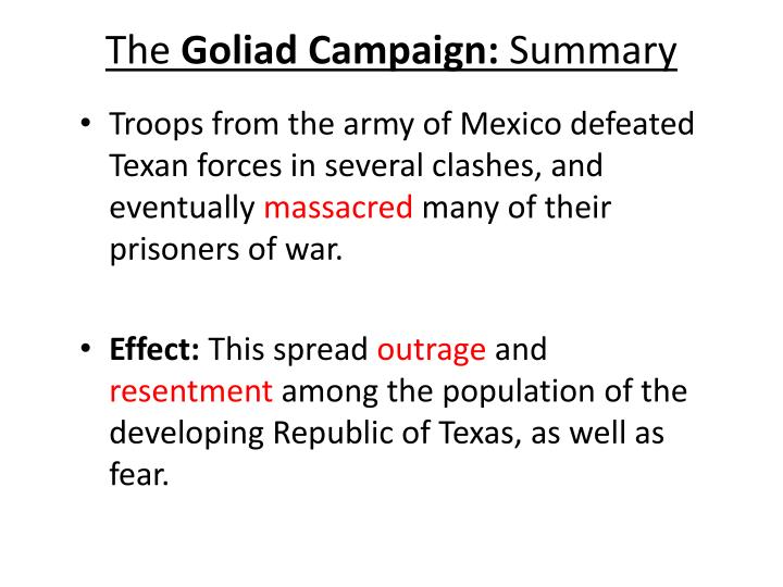 The goliad campaign summary