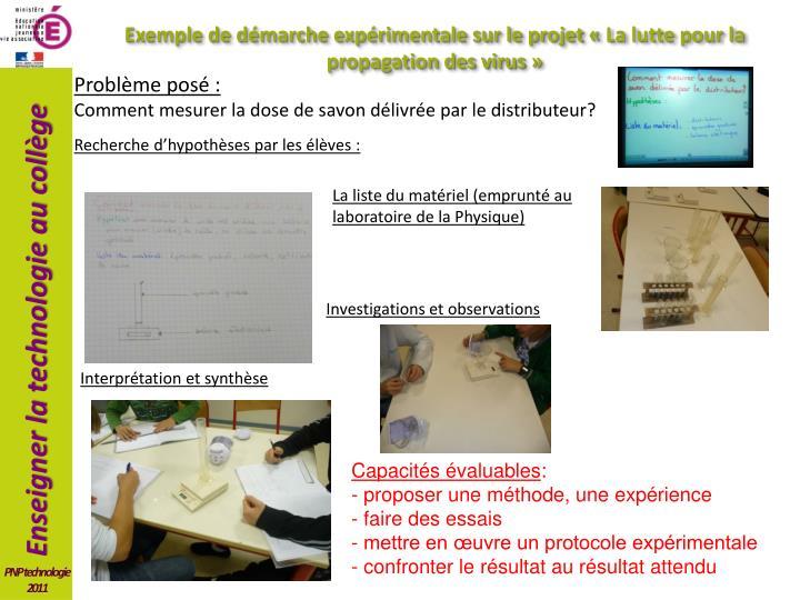 Exemple de démarche expérimentale sur le projet «La lutte pour la propagation des virus»