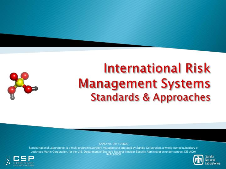 international risk management systems standards approaches n.