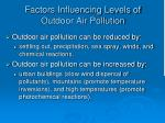 factors influencing levels of outdoor air pollution
