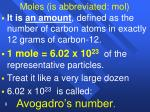 moles is abbreviated mol