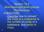 section 10 2 mole mass and mole volume relationships