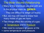 the mole volume relationship