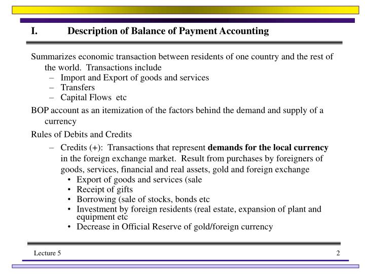 I description of balance of payment accounting