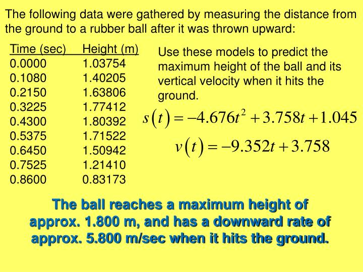 The following data were gathered by measuring the distance from