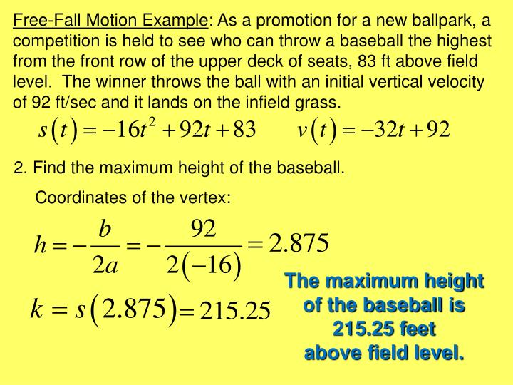 Free-Fall Motion Example