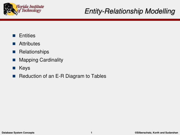 Ppt - Entity-relationship Modelling Powerpoint Presentation  Free Download