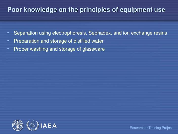 Poor knowledge on the principles of equipment use