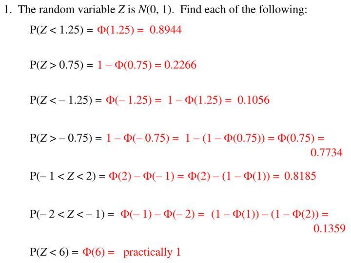 1.  The random variable