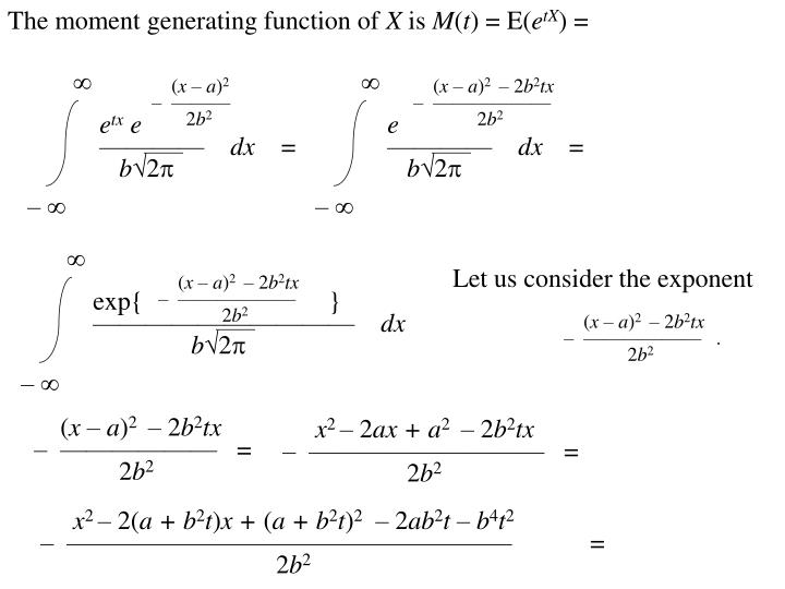 The moment generating function of