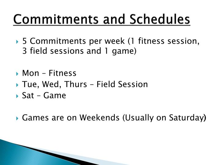 Commitments and Schedules