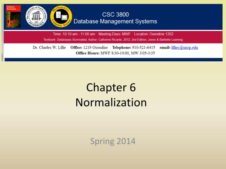 Chapter 6 normalization
