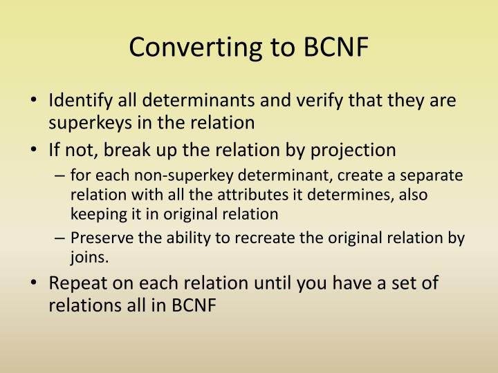Converting to BCNF
