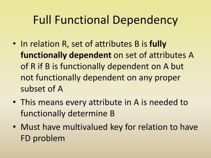 Full Functional Dependency