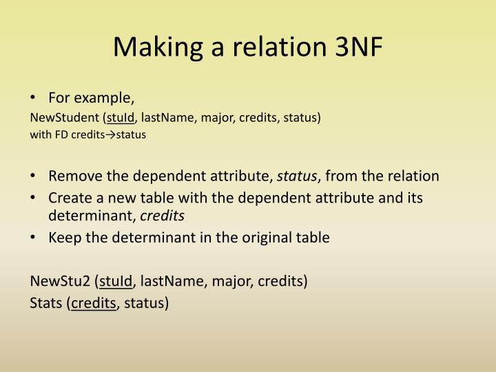 Making a relation 3NF