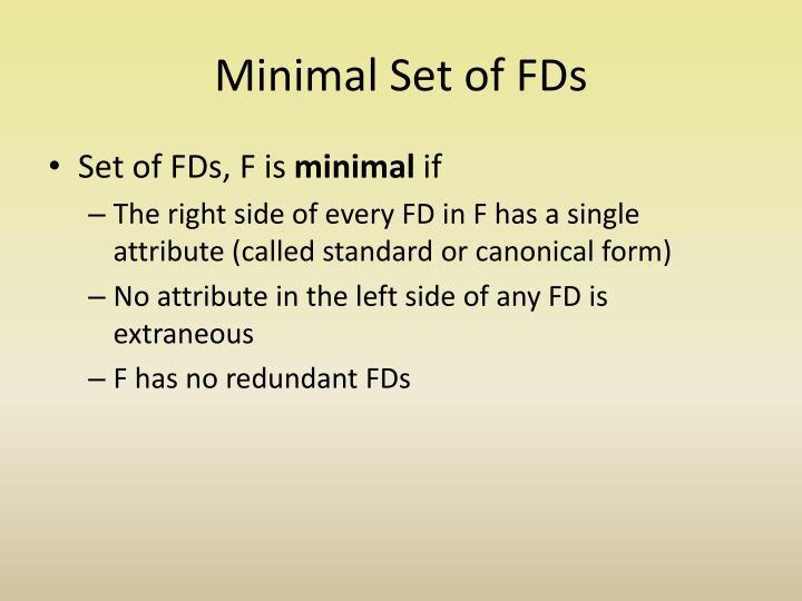 Minimal Set of FDs