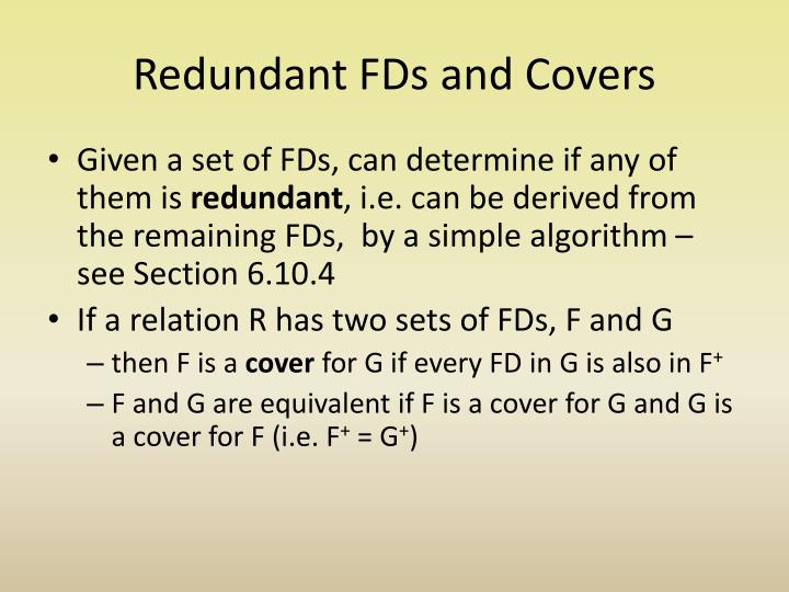 Redundant FDs and Covers