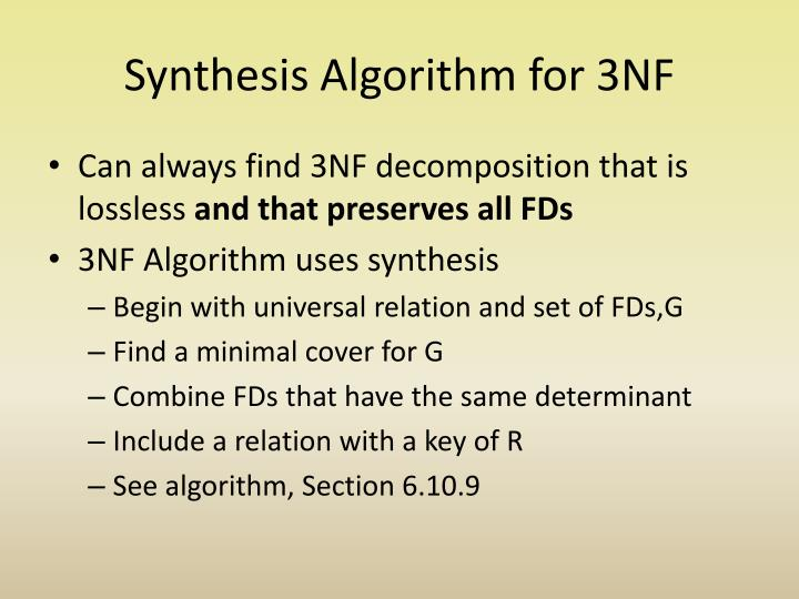 Synthesis Algorithm for 3NF