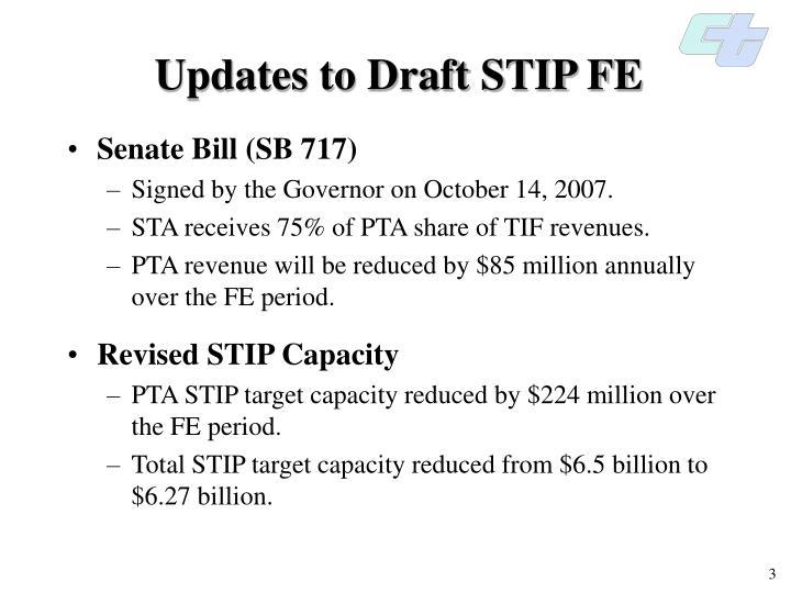 Updates to draft stip fe
