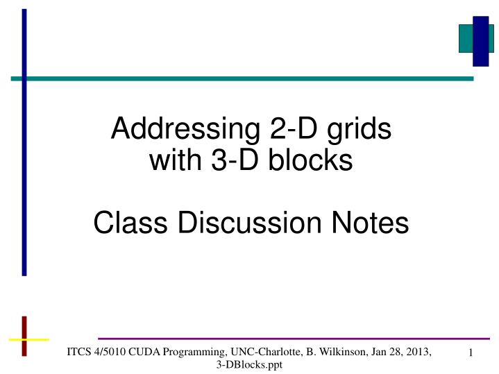 Addressing 2-D grids with 3-D blocks