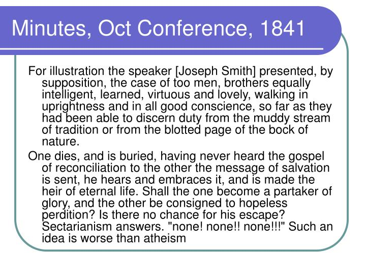 Minutes, Oct Conference, 1841