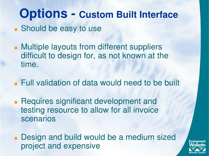 Options custom built interface